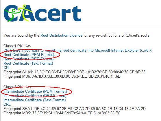 Twee mogelijk certificaten. De eerste is onmisbaar.