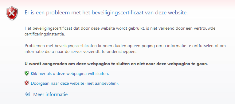 Foutmelding in Internet Explorer