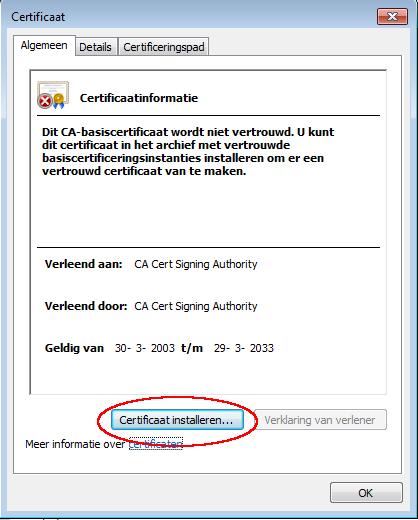 Certificaat kan worden geïnstalleerd